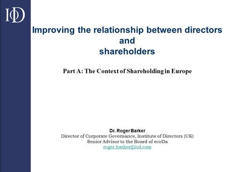 relationship between ceo and shareholders