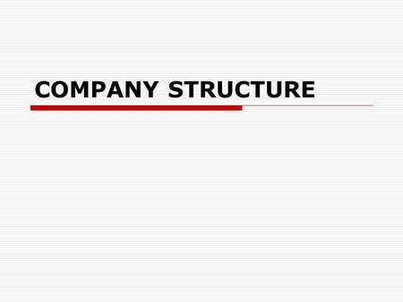 COMPANY STRUCTURE. People involved in corporate structure  shareholders  management  workforce.