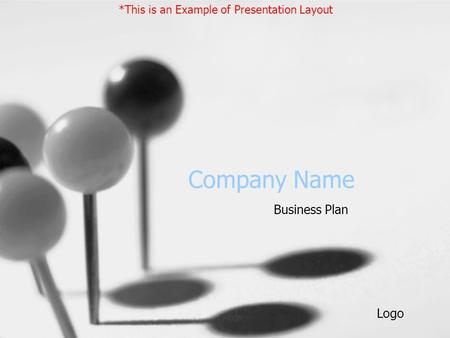Company Name Business Plan *This is an Example of Presentation Layout Logo.