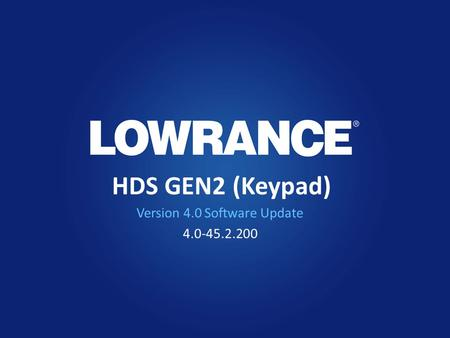 HDS GEN2 (Keypad) Version 4.0 Software Update 4.0-45.2.200.