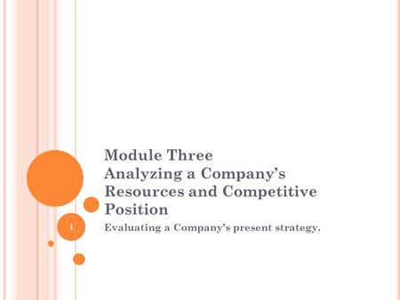 Module Three Analyzing a Company's Resources and Competitive Position