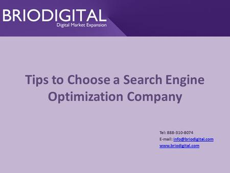Tips to Choose a Search Engine Optimization Company Tel: 888-310-8074