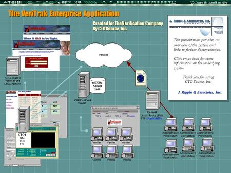 The VeriTrak Enterprise Application Created for The Verification Company By CTO Source, Inc. This presentation provides an overview of the system and links.