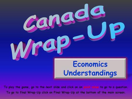 Economics Understandings To play the game, go to the next slide and click on an point value to go to a question. To go to final Wrap-Up click on Final.