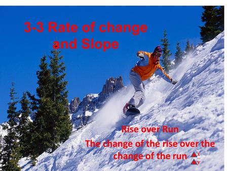 3-3 Rate of change and Slope Rise over Run The change of the rise over the change of the run.