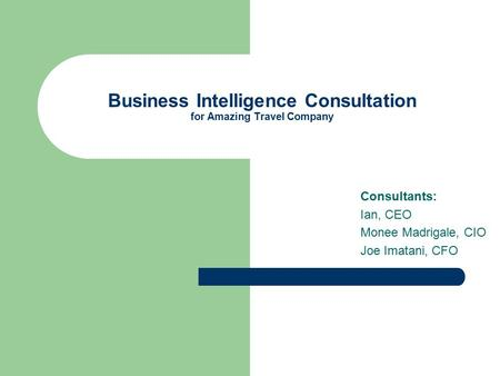 Business Intelligence Consultation for Amazing Travel Company Consultants: Ian, CEO Monee Madrigale, CIO Joe Imatani, CFO.
