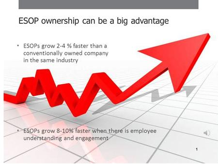 ESOPs grow 2-4 % faster than a conventionally owned company in the same industry ESOPs grow 8-10% faster when there is employee understanding and engagement.
