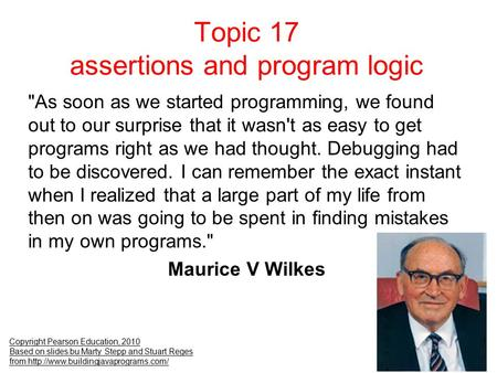 Topic 17 assertions and program logic