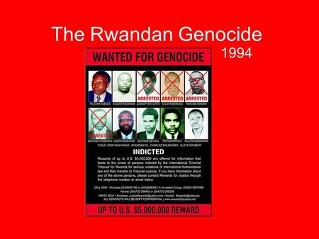 The Rwandan Genocide 1994. History of the Conflict In the fifteenth century the Tutsis were the rulers of most of today's Rwanda –Put in place by the.