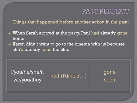 Things that happened before another action in the past:  When Sarah arrived at the party, Paul had already gone home  Karen didn't want to go to the.