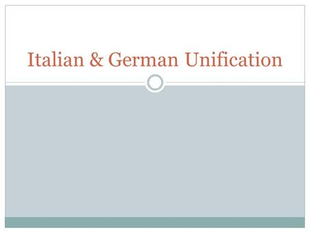 Italian & German Unification. Italy (1859-1860) Antiquity: Roman Empire 1. Why wasn't Italy united before 1850?