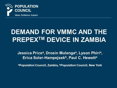 DEMAND FOR VMMC AND THE PREPEXTM DEVICE IN ZAMBIA
