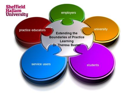 Extending the Boundaries of Practice Learning Dr Theresa Baxter university students service users practice educators employers.