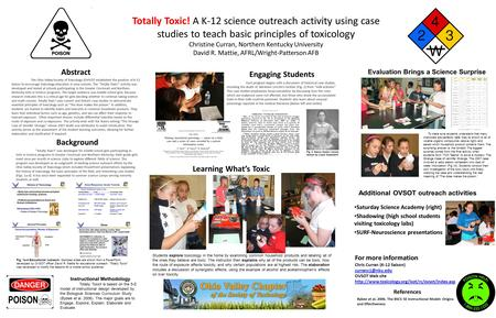 Totally Toxic! A K-12 science outreach activity using case studies to teach basic principles of toxicology Christine Curran, Northern Kentucky University.