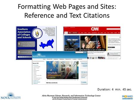 Formatting Web Pages and Sites: Reference and Text Citations Duration: 4 min. 45 sec.