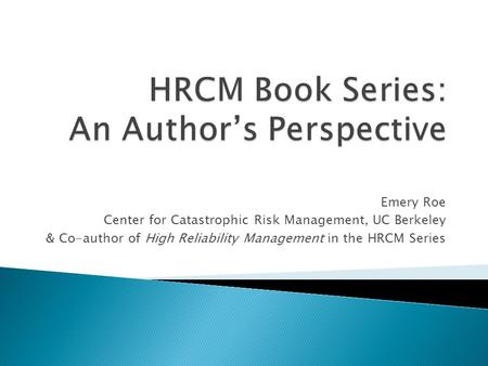 HRCM Book Series: An Author's Perspective