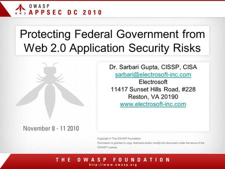 Protecting Federal Government from Web 2.0 Application Security Risks