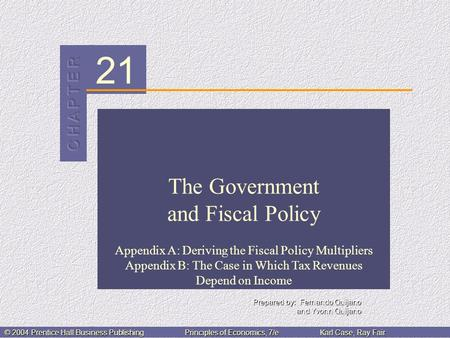 21 © 2004 Prentice Hall Business PublishingPrinciples of Economics, 7/eKarl Case, Ray Fair The Government and Fiscal Policy Appendix A: Deriving the Fiscal.