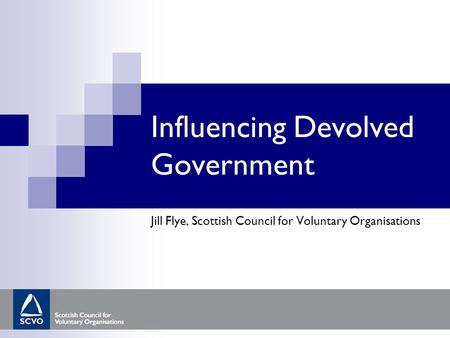 Influencing Devolved Government Jill Flye, Scottish Council for Voluntary Organisations.