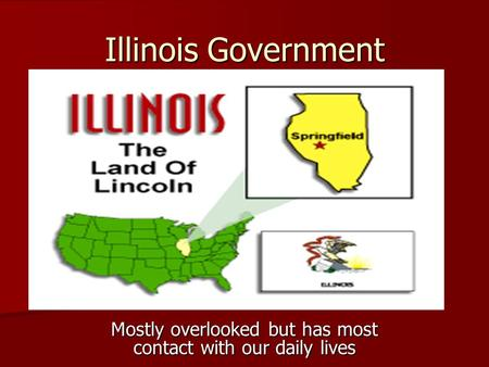 Illinois Government Mostly overlooked but has most contact with our daily lives.