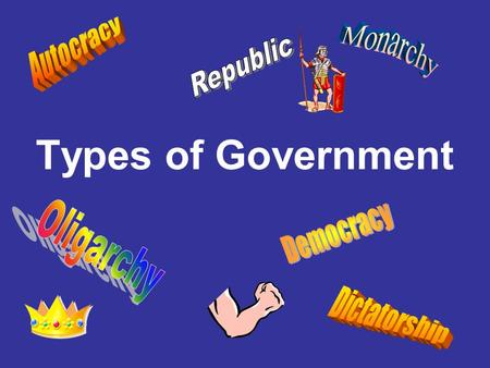 Types of Government Monarchy Autocracy Republic Democracy Oligarchy