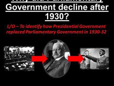 Why did Parliamentary Government decline after 1930? L/O – To identify how Presidential Government replaced Parliamentary Government in 1930-32.