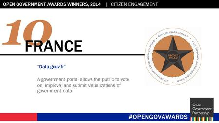 "Flag placeholder: 2.45"" x 2.45"" OPEN GOVERNMENT AWARDS WINNERS, 2014 