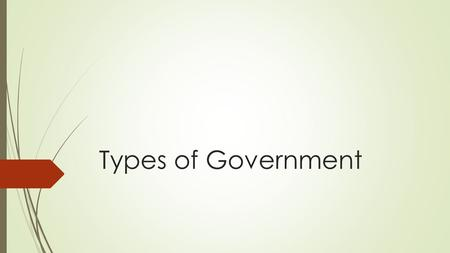 Types of Government. Objective  Students will demonstrate an understanding of the main forms of government by obtaining proficiency on a quiz.