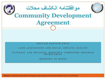 GHULAM DASTGIR KHAN LAND ACQUISITION AND SOCIAL IMPACTS ANALYST NATIONAL AND REGIONAL RESOURCE CORRIDORS PROGRAM SECRETARIAT MINISTRY OF MINES GHULAM DASTGIR.