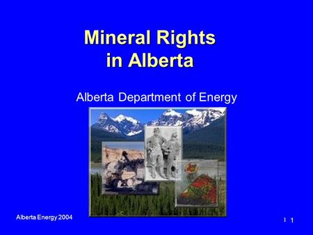 1 Mineral Rights in Alberta Alberta Energy 2004 1 Alberta Department of Energy.