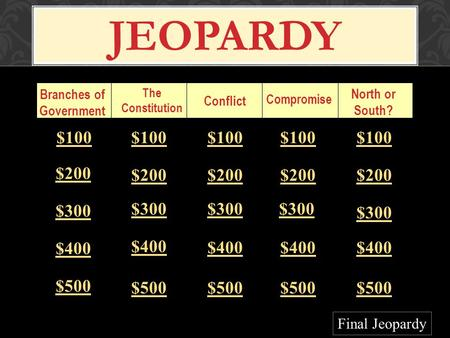 JEOPARDY Branches of Government The Constitution Conflict Compromise North or South? $100 $200 $300 $400 $500 $100 $200 $300 $400 $500 Final Jeopardy.