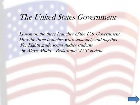 The United States Government Lesson on the three branches of the U.S. Government. How the three branches work separately and together. For Eighth grade.