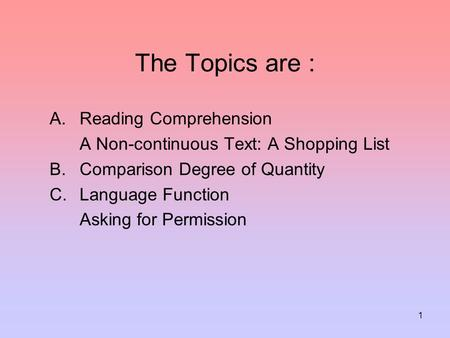 The Topics are : Reading Comprehension