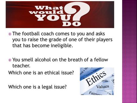  The football coach comes to you and asks you to raise the grade of one of their players that has become ineligible.  You smell alcohol on the breath.