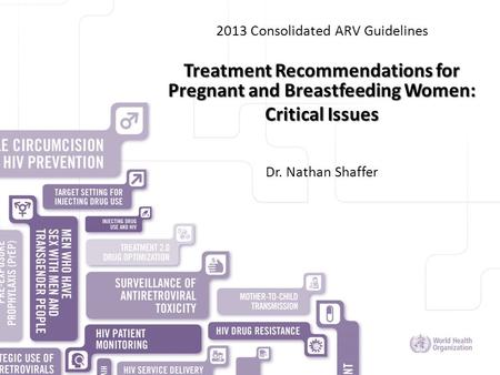 HIV/AIDS DEPARTMENT 2013 Consolidated ARV Guidelines Treatment Recommendations for Pregnant and Breastfeeding Women: Critical Issues Dr. Nathan Shaffer.