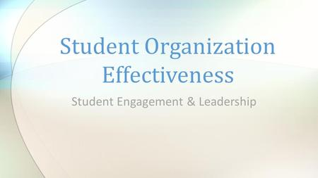 Student Engagement & Leadership Student Organization Effectiveness.