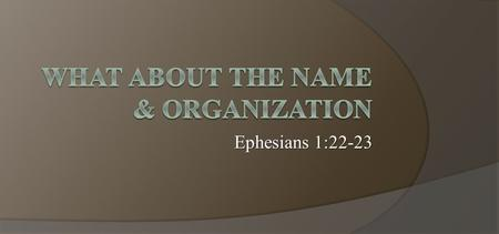 Ephesians 1:22-23. Previous Studies  Bible Authority  Differences of the Old & New Testaments  Origin of the church.