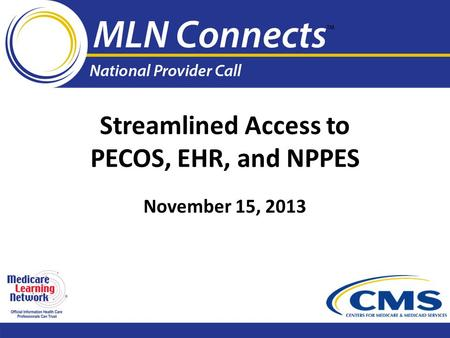 Streamlined Access to PECOS, EHR, and NPPES November 15, 2013.