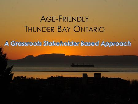 A GE -F RIENDLY T HUNDER B AY O NTARIO 1. A GE -F RIENDLY T HUNDER B AY O NTARIO Age-Friendly Thunder Bay was initiated on the basis of community-based.