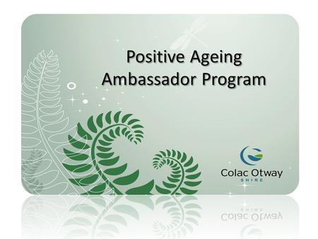 Positive Ageing Ambassador Program. The aim of the project is to maximise the involvement of older people in generating projects that will make a positive.