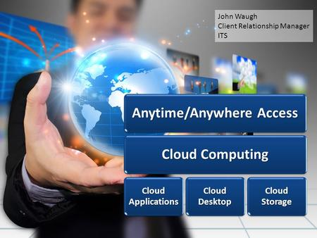 Anytime/Anywhere Access Cloud Computing Cloud Applications Cloud Desktop Cloud Storage John Waugh Client Relationship Manager ITS.