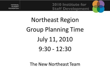 Northeast Region Group Planning Time July 11, 2010 9:30 - 12:30 The New Northeast Team.