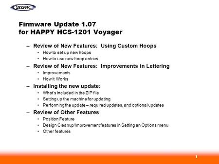 Firmware Update 1.07 for HAPPY HCS-1201 Voyager