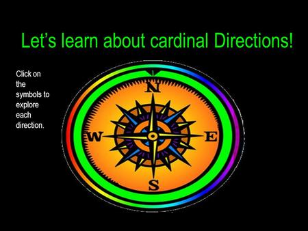 Let's learn about cardinal Directions! Click on the symbols to explore each direction.