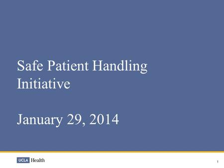 1 Safe Patient Handling Initiative January 29, 2014.