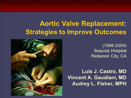 Luis J. Castro, MD Vincent A. Gaudiani, MD Audrey L. Fisher, MPH Aortic Valve Replacement: Strategies to Improve Outcomes (1998-2004) Sequoia Hospital.