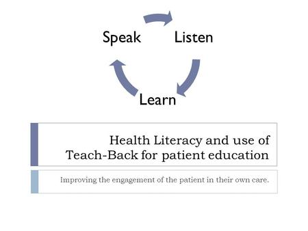 Health Literacy and use of Teach-Back for patient education Improving the engagement of the patient in their own care. Listen Learn Speak.