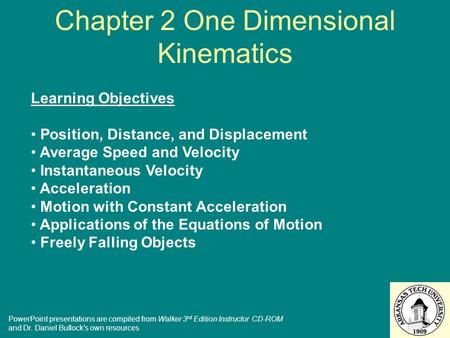 Chapter 2 One Dimensional Kinematics