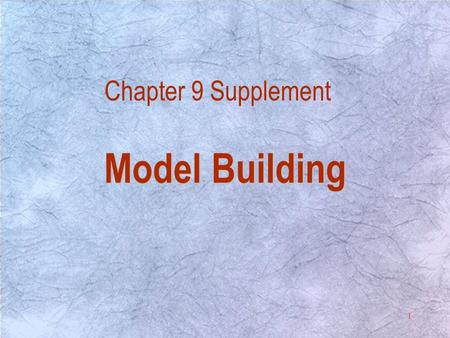 1 Chapter 9 Supplement Model Building. 2 Introduction Introduction Regression analysis is one of the most commonly used techniques in statistics. It is.