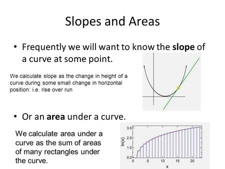 Slopes and Areas Frequently we will want to know the slope of a curve at some point. Or an area under a curve. We calculate slope as the change in height.
